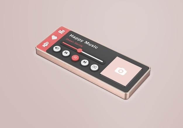 Maquete do reprodutor de mídia 3d rose gold