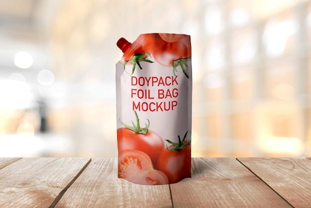 Maquete do saco de folha doypack