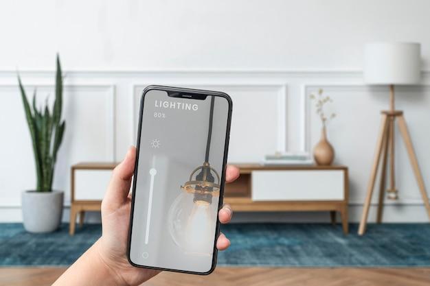 Maquete do sistema de casa inteligente psd na tela do telefone celular