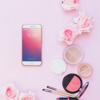 Maquete do smartphone com o conceito de beleza