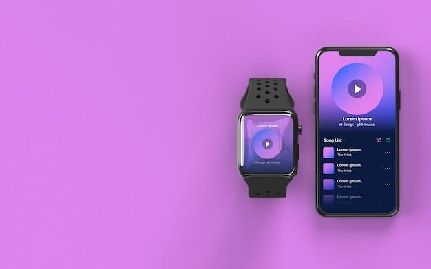 Maquete do smartwatch e smartphone