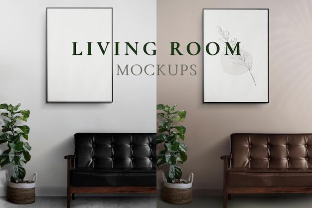 Maquete do sofá com porta-retratos psd na parede da sala de estar