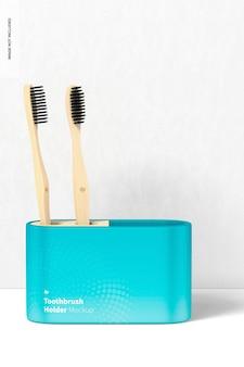 Maquete do suporte da escova de dentes, vista frontal