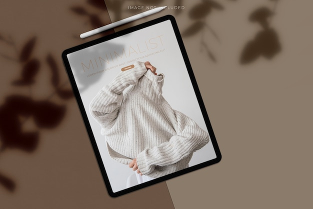 Maquete do tablet com sobreposição de sombra