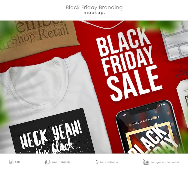 Maquete do telefone black friday e modelo de camiseta para a marca da loja