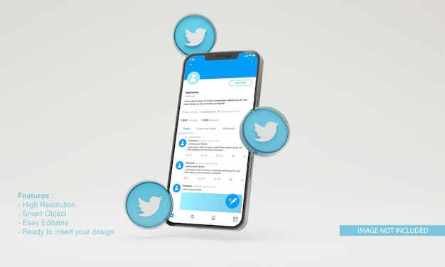 Maquete do telefone móvel da ilustração do twitter do ícone 3d