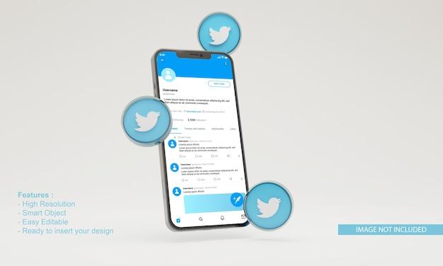 Maquete do telefone móvel do twitter do ícone 3d