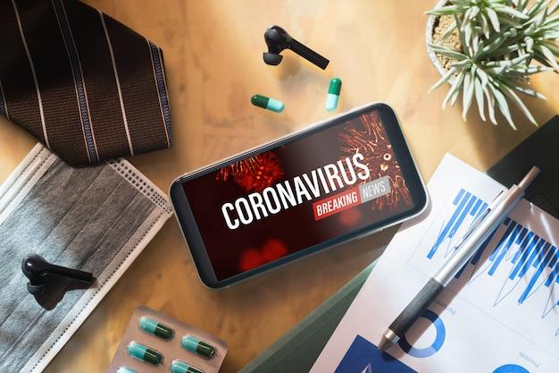 Maquete do telefone móvel para o conceito de notícias coronavirus.