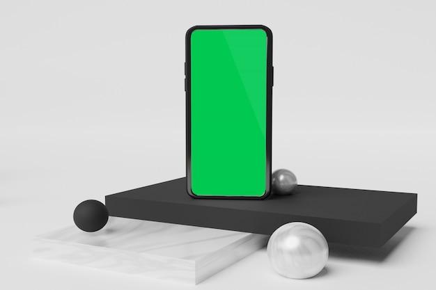 Maquete do telefone móvel renderização em 3d para publicidade do scene creator