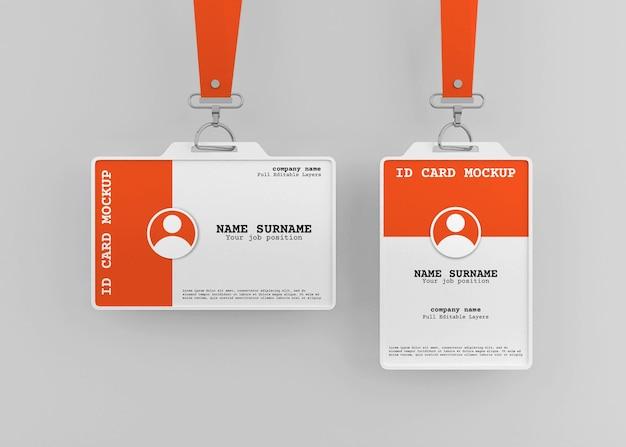 Maquete do titular do cartão de identificação do escritório corporativo com cordão