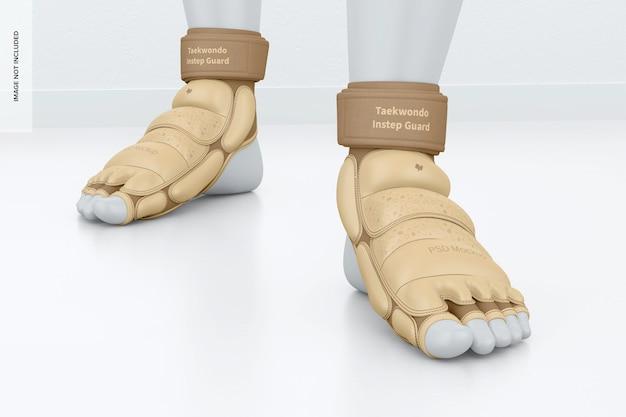 Maquete dos protetores do peito do pé de taekwondo, vista frontal