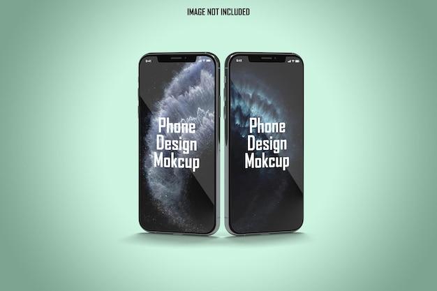 Maquete dupla de smartphone com vista frontal