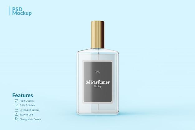 Maquete editável de frasco de perfume de marca