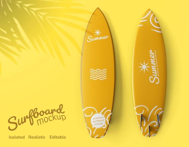 Maquete editável de frente e verso de prancha de surfe plana realista vista superior na praia