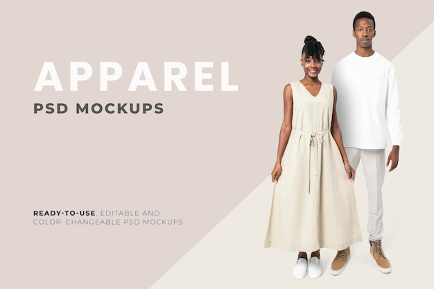 Maquete editável de roupas mínimas anúncio de moda psd para homens e mulheres