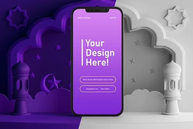 Maquete editável de tela de smartphone em cores criativas, renderização 3d, tema islâmico eid mubarak ramadan