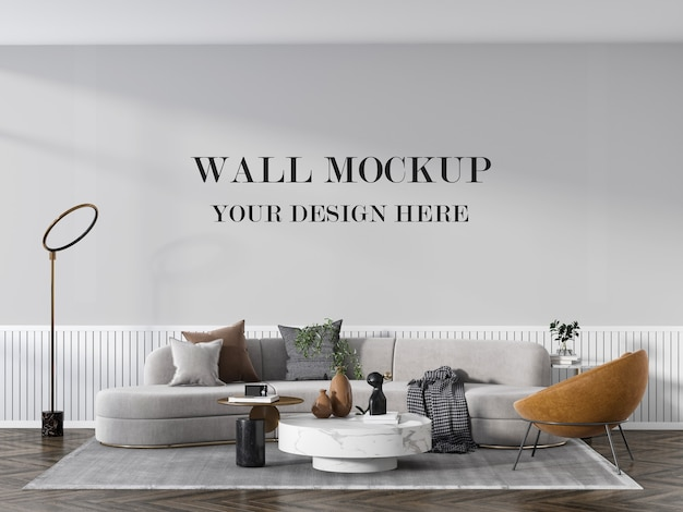 Maquete elegante da parede vazia da sala de estar