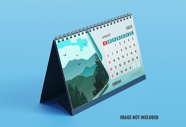 Maquete elegante da vista esquerda do calendário de mesa