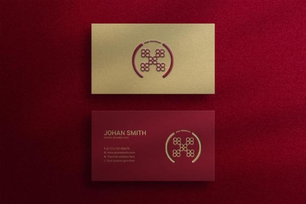 Maquete elegante de cartão de visita de vista superior