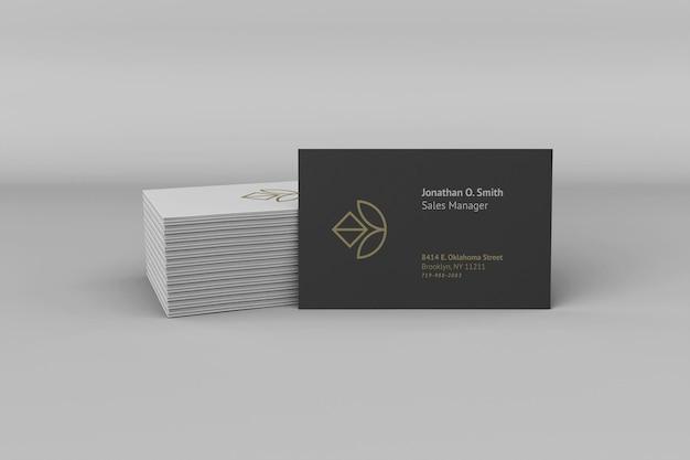Maquete elegante de cartão de visita escuro e branco