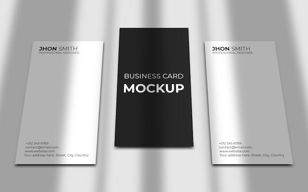 Maquete elegante de cartão de visita vertical com sombra