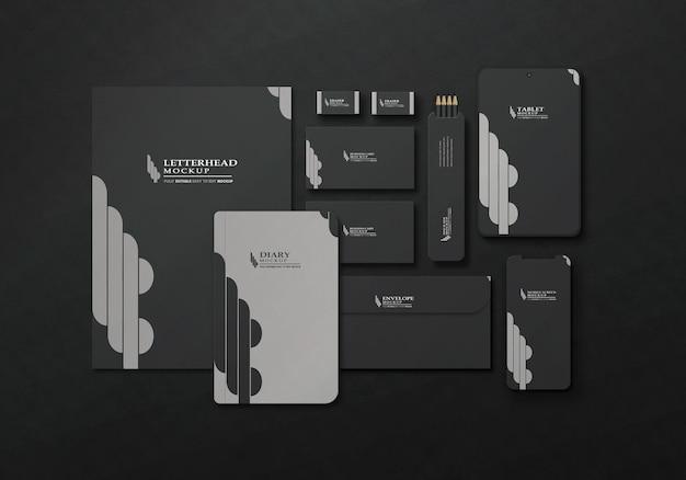 Maquete elegante de conjunto fixo de escritório escuro
