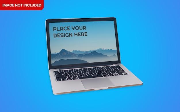 Maquete elegante de detalhe de vista frontal do notebook com fundo azul