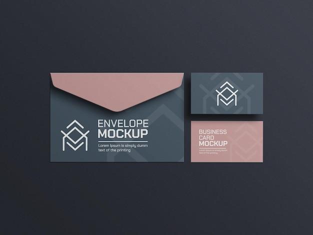 Maquete elegante de papelaria de envelope