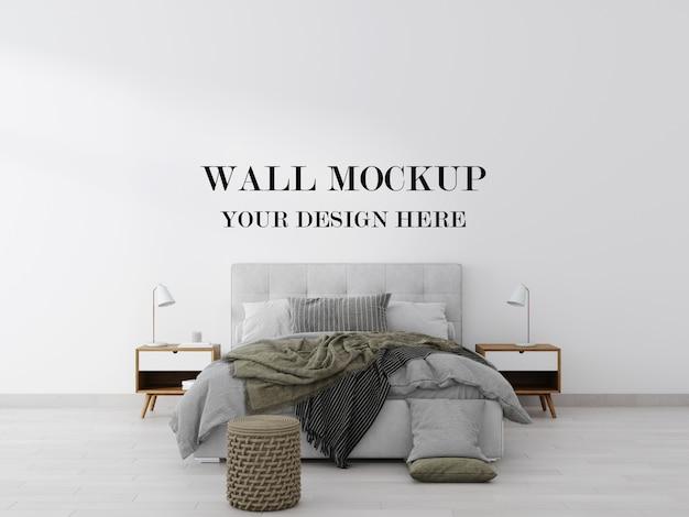 Maquete elegante e contemporâneo da parede do quarto com renderização em 3d