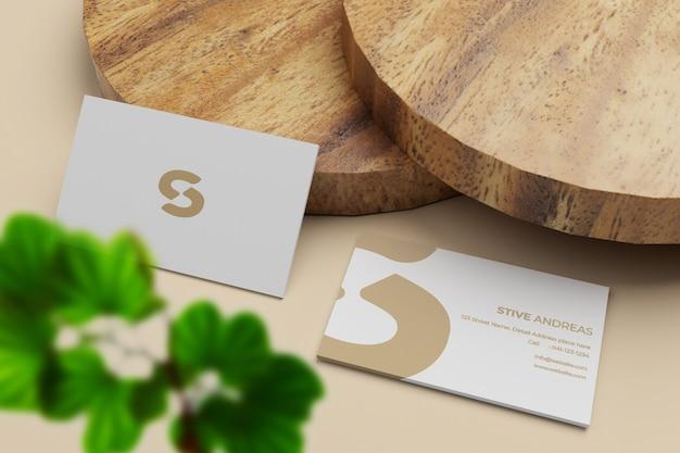 Maquete elegante e minimalista da pilha de cartões de visita