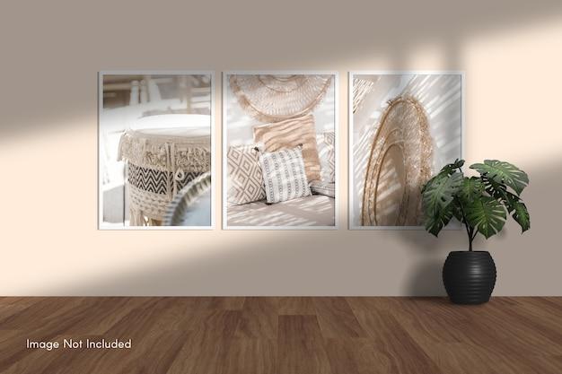 Maquete elegante e minimalista de moldura de foto pendurada na parede