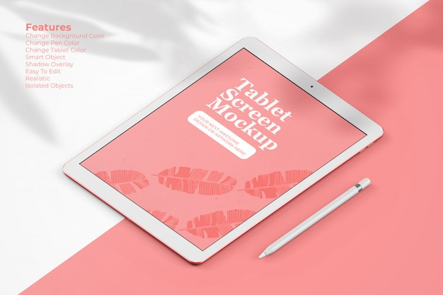 Maquete elegante tablet com lápis digital