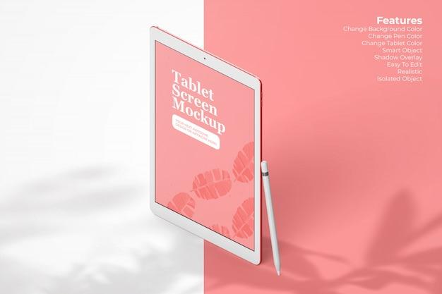 Maquete elegante tablet flutuando com lápis digital