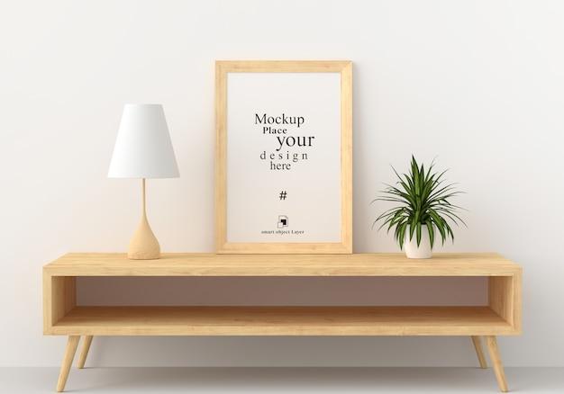 Maquete em branco moldura na moderna sala de estar