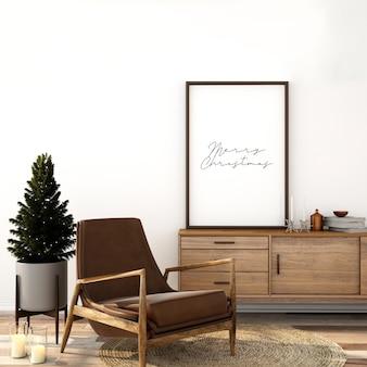 Maquete escandinava de design de interiores de sala de estar com árvore de natal
