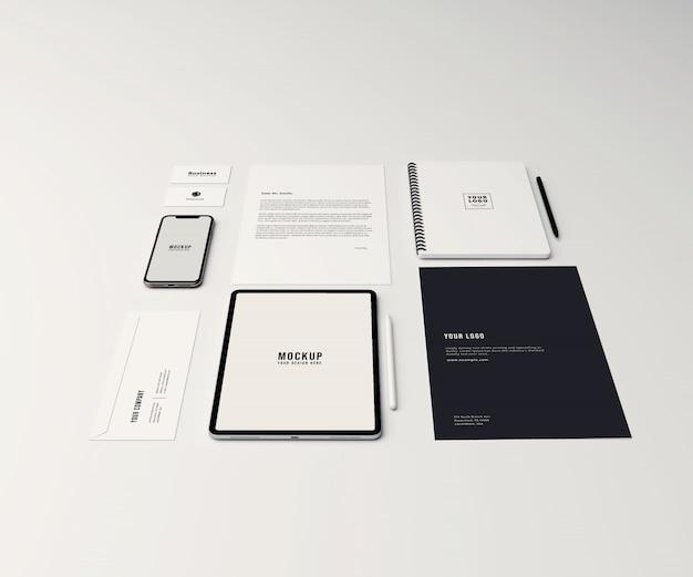 Maquete estacionário e de identidade de marca