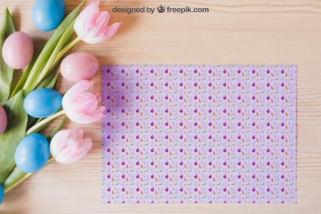 Maquete floral de páscoa com padrão