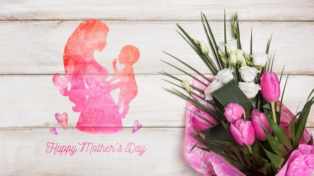 Maquete floral do dia das mães