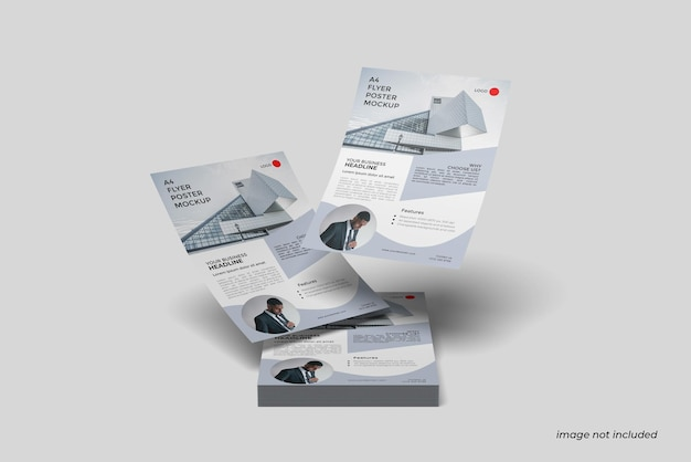 Maquete flutuante a4 flyer