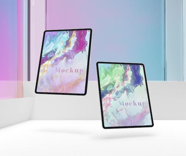 Maquete flutuante de coleção de tablet