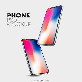 Maquete flutuante do iphone x psd