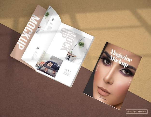 Maquete foto realista da revista aberta