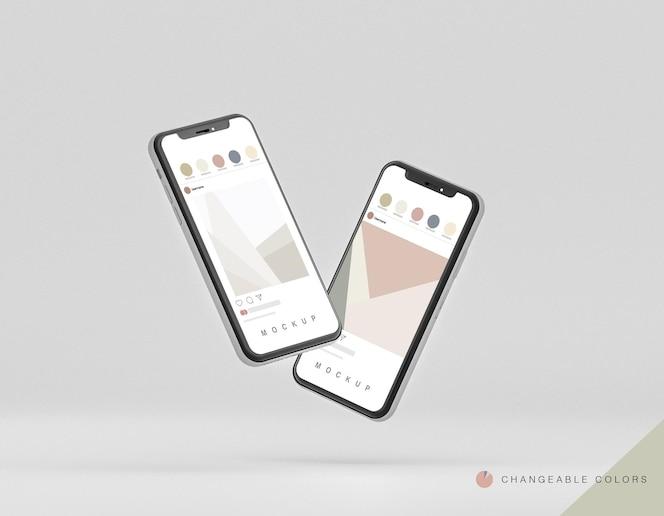 Maquete frontal de telefones 3d mínima levitando
