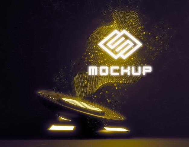 Maquete futurista do logotipo em luzes brilhantes