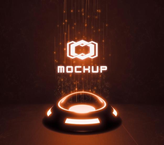 Maquete futurista do logotipo em luzes de néon