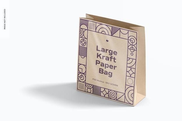 Maquete grande de saco de papel kraft, vista em perspectiva