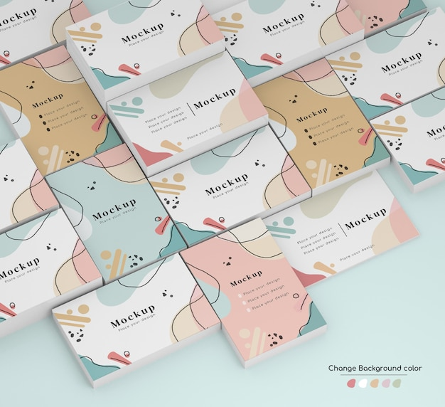 Maquete isométrica de cartão de visita de negócios mínimo