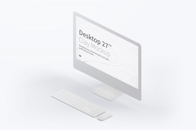 Maquete isométrica de computador desktop com teclado e mouse