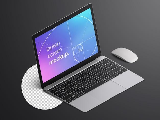 Maquete isométrica realista da tela do laptop do macbook com o mouse