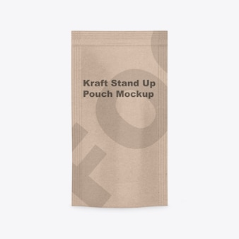 Maquete kraft stand up pouch isolada